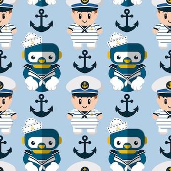 Robot senza cuciture e marinaio carino Vettore Premium