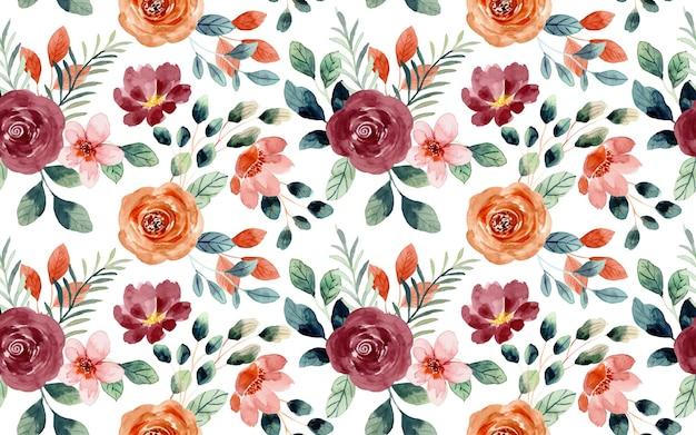 Modello senza cuciture dell'acquerello del fiore di rosa flower