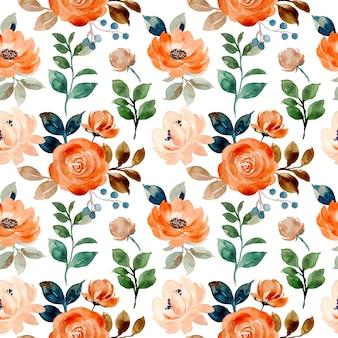Modello senza cuciture di fiori di rosa con acquerello