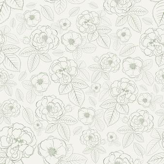 Modello senza cuciture di rose con foglie, verde su bianco