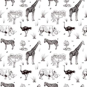 Fauna selvatica di safari senza cuciture isolato su priorità bassa bianca. animali africani giraffa, struzzo, rinoceronte, zebra in stile incisione. stampa monocromatica di design tessile della savana.