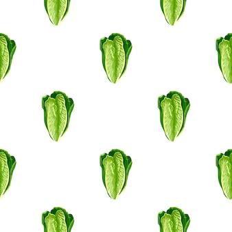 Modello senza cuciture insalata romano su sfondo bianco. ornamento minimalista con lattuga. modello di pianta geometrica per tessuto. illustrazione di vettore di progettazione.