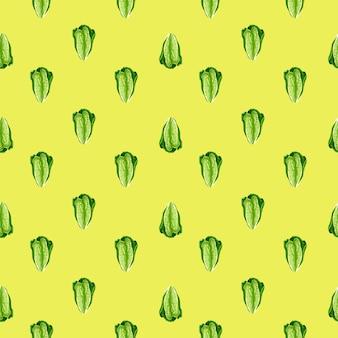Modello senza cuciture insalata romano su sfondo giallo. ornamento minimalista con lattuga. modello di pianta geometrica per tessuto. illustrazione di vettore di progettazione.
