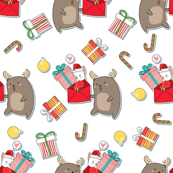 Seamless pattern babbo natale gatto e renne cartoon
