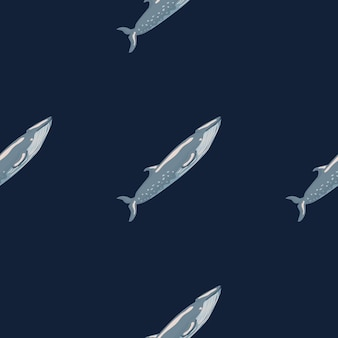 Modello senza cuciture sei balena su sfondo nero. modello di personaggio dei cartoni animati dell'oceano per tessuto.