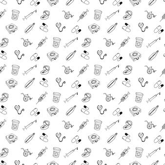 Set di modelli senza cuciture di diverse icone mediche di cura delle ferite e trattamenti per la grafica delle informazioni mediche. illustrazione vettoriale di schizzo del fumetto disegnato a mano, icona di stile di schizzo.