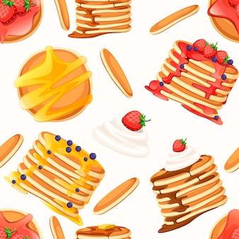 Seamless pattern. set di quattro frittelle con diversi condimenti. frittelle sulla zolla bianca. cuocere con sciroppo o miele. concetto di colazione. illustrazione piatta su sfondo bianco.