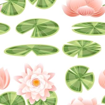 Modello senza cuciture insieme di parti di loto giglio piatto illustrazione vettoriale su sfondo bianco.