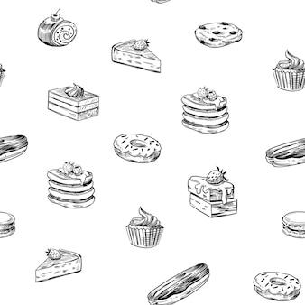 Modello senza cuciture set di cibo dolce illustrazioni di schizzo vettoriale isolato su sfondo bianco