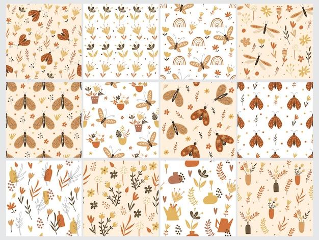 Modello senza cuciture con elementi floreali e farfalle. illustrazione vettoriale.