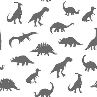 Modello senza soluzione di continuità. dinosauri silhouette isolati su sfondo bianco, illustrazione vettoriale.