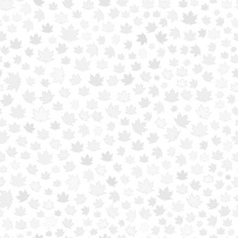Modello senza cuciture di piccole foglie grigie su sfondo bianco