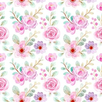 Modello senza cuciture di acquerello floreale rosa tenue