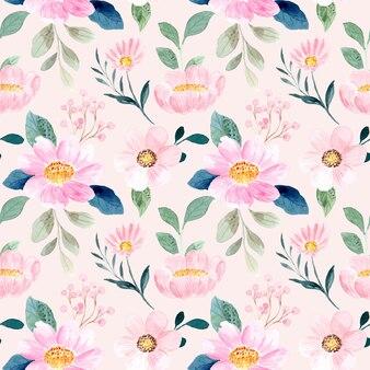 Modello senza cuciture di morbido fiore rosa con acquerello