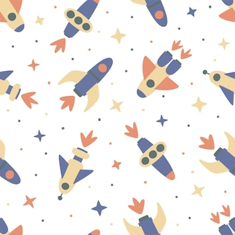 Modello senza cuciture di astronavi e stelle su sfondo bianco. perfetto per il design dei bambini, tessuti, confezioni, carta da parati, tessuti, decorazioni per la casa.