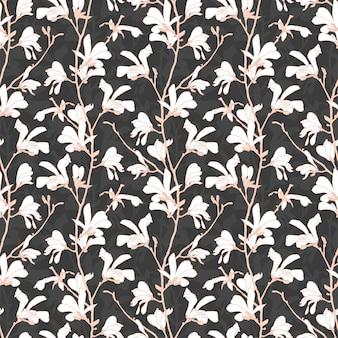 Disegno di primavera modello senza cuciture floreale. illustrazione botanica disegnata a mano.