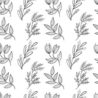 Modello senza cuciture di primavera, fiori estivi ed erbe aromatiche. fiori di campo e piante dipinti a mano. linea artistica.