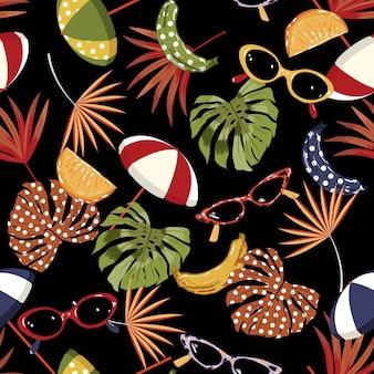 Vibrazioni estive senza cuciture, elementi da spiaggia disegnati a mano