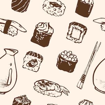 Modello senza cuciture rotoli di sushi e frutti di mare giapponesi