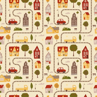 Trama del modello senza cuciture che simula una mappa con auto stradali dipinte in diversi colori con piccole case