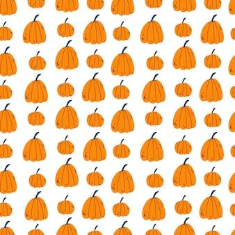 Modello senza cuciture per il ringraziamento halloween con la zucca in stile infantile del fumetto disegnato a mano