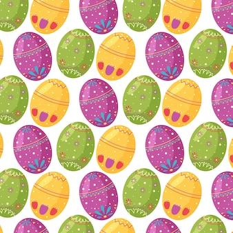 Modello senza cuciture delle loro uova di pasqua caotiche. perfetto per carta da parati, carta regalo, riempimenti a motivo, sfondo della pagina web, biglietti di auguri primaverili e pasquali