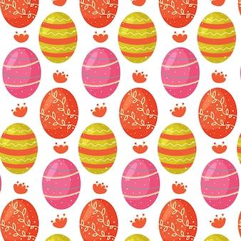 Modello senza cuciture delle loro uova di pasqua colorate. perfetto per carta da parati, carta regalo, riempimenti a motivo, sfondo della pagina web, biglietti di auguri primaverili e pasquali