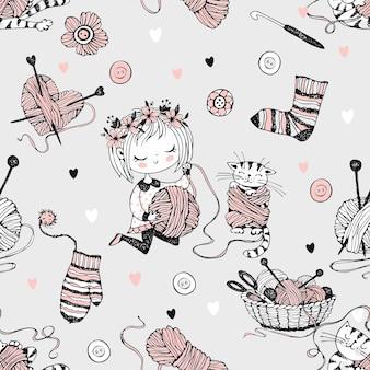 Modello senza cuciture sul tema del lavoro a maglia con una ragazza carina magliaia e il suo gattino che gioca con una matassa di filo.