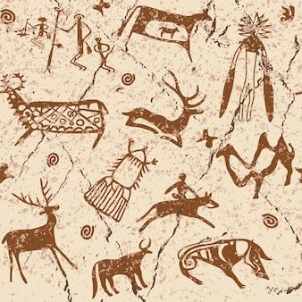 Modello senza cuciture sul tema delle pitture rupestri dell'asia centrale, disegno vettoriale