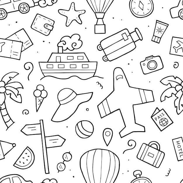 Modello senza cuciture elementi di contorno del turismo. schizzo di scarabocchio. oggetti di viaggio disegnati a mano.