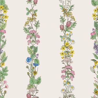 Modello senza cuciture di trafori di erbe disegnate a mano e fiori di campo