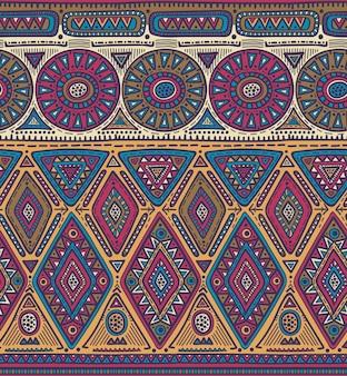 Modello senza soluzione di continuità per il design tribale. motivo etnico