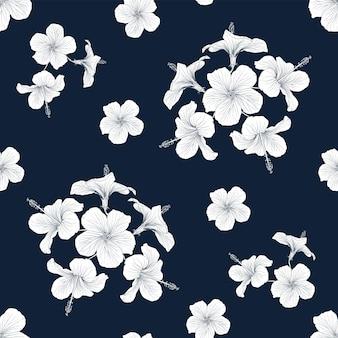 Sfondo di natura tropicale senza cuciture con mano disegnare floreale