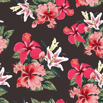 Modello senza cuciture tropicale con ibisco rosso e fiori di giglio sfondo astratto.