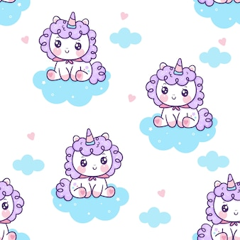 Il pony sveglio del fumetto della fata dell'unicorno senza cuciture si siede sulla nuvola