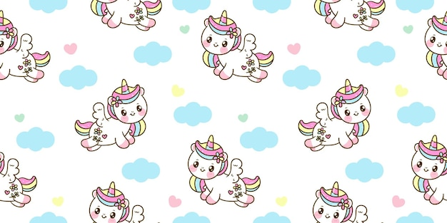Salto del fumetto di pegasus unicorno senza cuciture con animale kawaii cloud
