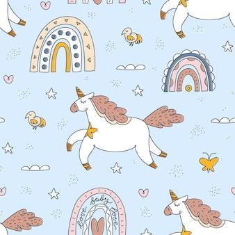Elementi senza cuciture unicorno, arcobaleno, uccelli e boho