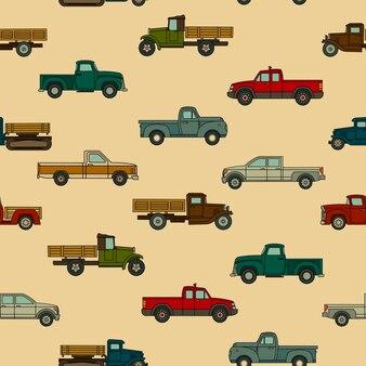 Modello senza cuciture di vari modelli disegnati di auto americane
