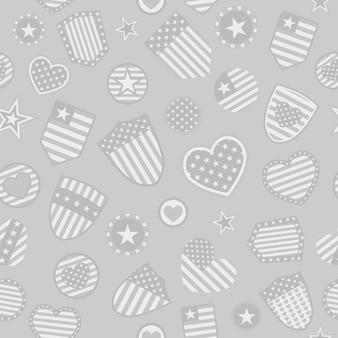 Modello senza cuciture di vari simboli usa in colori grigi su sfondo grigio
