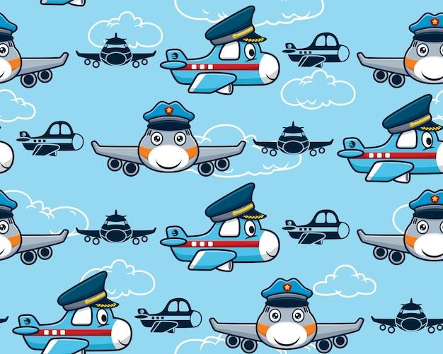 Modello senza cuciture del fumetto dell'aereo che indossa il cappello da pilota Vettore Premium