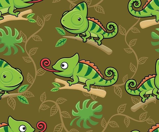 Vettore senza cuciture del fumetto del camaleonte sui rami degli alberi