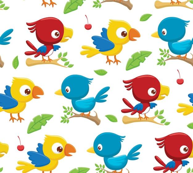Modello senza cuciture vettore di uccelli colorati appollaiati sui rami degli alberi