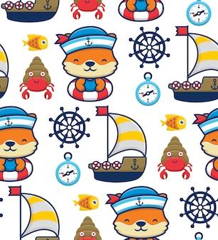 Vettore senza cuciture del fumetto della volpe che indossa il cappello da marinaio sul salvagente con barca a vela ed elementi marini