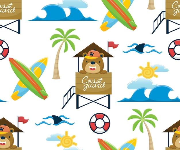 Vettore senza cuciture del fumetto divertente dell'orso sul posto del bagnino con elementi di surf in spiaggia