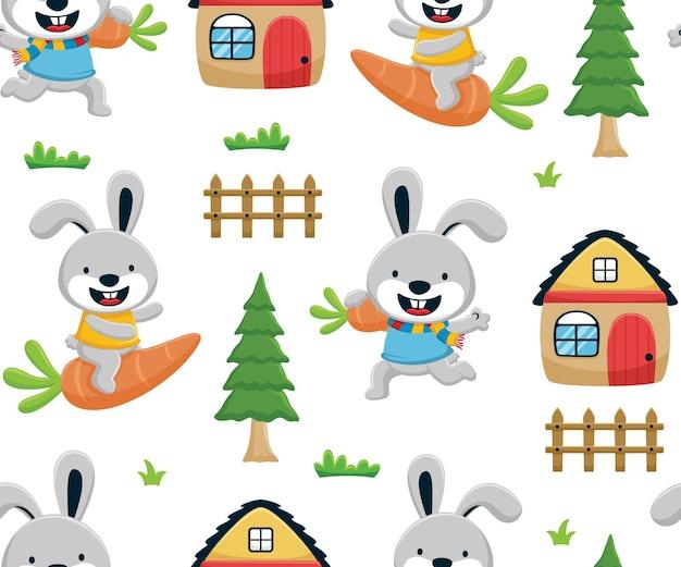 Vettore senza cuciture del fumetto divertente del coniglietto con la carota, la casa, gli alberi e la recinzione