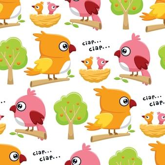 Modello senza cuciture vettore di divertenti uccelli colorati persico cartone animato sui rami degli alberi con i suoi cuccioli nel nido e alberi