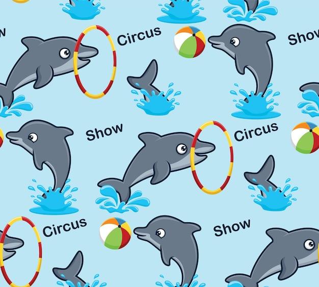 Modello senza cuciture vettore di delfini divertenti in spettacolo circense Vettore Premium