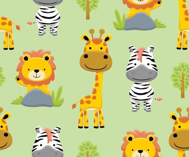 Modello senza cuciture vettore di animali safari cartoon