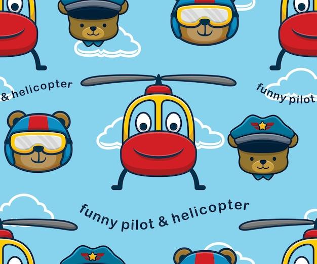 Vettore del modello senza cuciture del fumetto sorridente dell'elicottero con il pilota divertente dell'orso