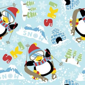 Vettore senza cuciture del modello con il fumetto del pinguino di corsa con gli sci